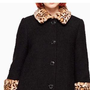 Kate Spade Leopard Collar and Cuffs Coat
